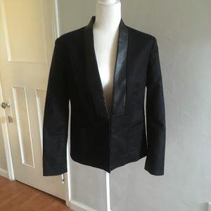 DKNY | Faux Leather Trim Black Clasp Blazer
